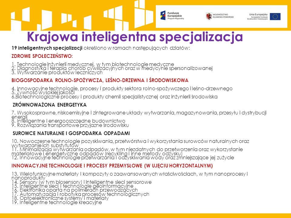 Krajowa inteligentna specjalizacja 19 inteligentnych specjalizacji określono w ramach następujących działów: ZDROWE SPOŁECZEŃSTWO: 1. Technologie inży