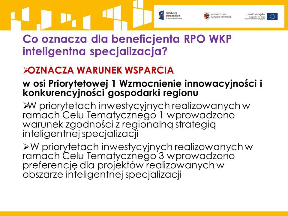 Co oznacza dla beneficjenta RPO WKP inteligentna specjalizacja?  OZNACZA WARUNEK WSPARCIA w osi Priorytetowej 1 Wzmocnienie innowacyjności i konkuren
