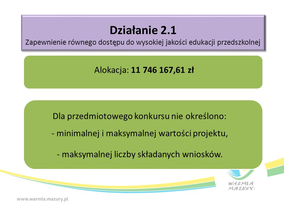 Działanie 2.1 Zapewnienie równego dostępu do wysokiej jakości edukacji przedszkolnej Działanie 2.1 Zapewnienie równego dostępu do wysokiej jakości edukacji przedszkolnej Alokacja: 11 746 167,61 zł Dla przedmiotowego konkursu nie określono: - minimalnej i maksymalnej wartości projektu, - maksymalnej liczby składanych wniosków.