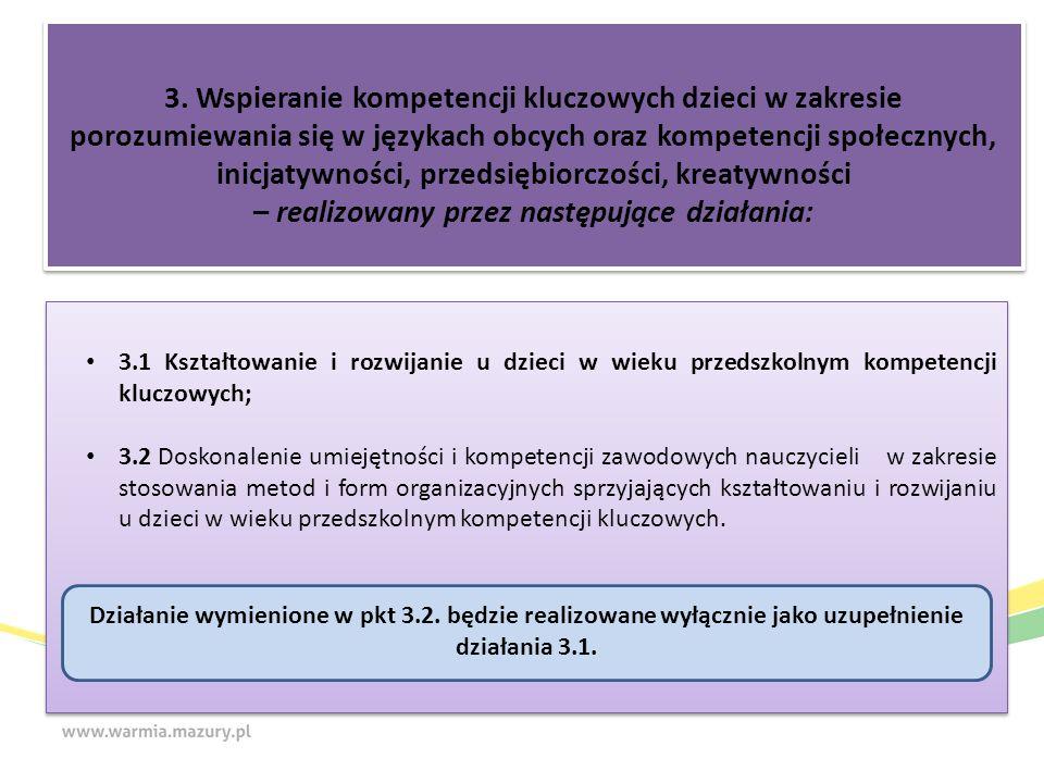 3. Wspieranie kompetencji kluczowych dzieci w zakresie porozumiewania się w językach obcych oraz kompetencji społecznych, inicjatywności, przedsiębior