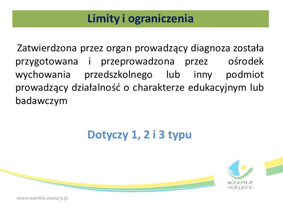 Limity i ograniczenia Zatwierdzona przez organ prowadzący diagnoza została przygotowana i przeprowadzona przez ośrodek wychowania przedszkolnego lub inny podmiot prowadzący działalność o charakterze edukacyjnym lub badawczym Dotyczy 1, 2 i 3 typu