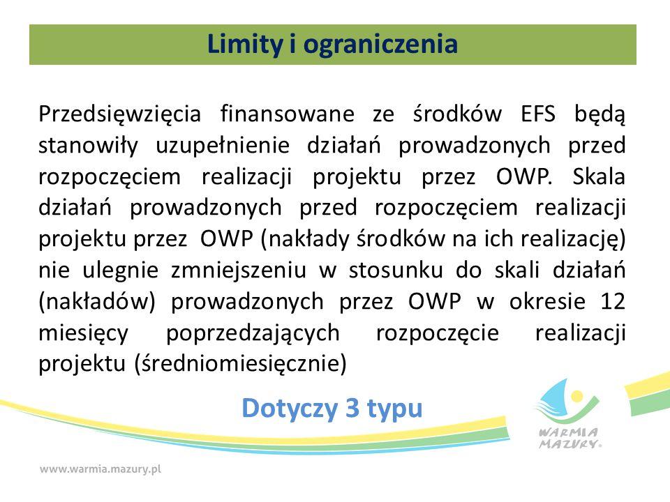 Limity i ograniczenia Przedsięwzięcia finansowane ze środków EFS będą stanowiły uzupełnienie działań prowadzonych przed rozpoczęciem realizacji projektu przez OWP.