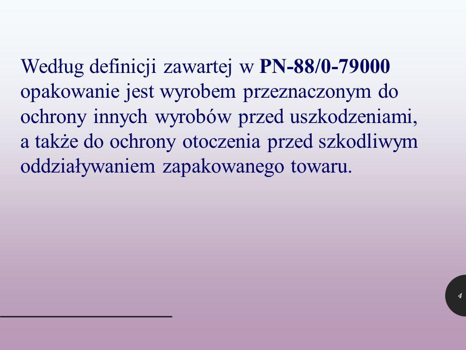 4 Według definicji zawartej w PN-88/0-79000 opakowanie jest wyrobem przeznaczonym do ochrony innych wyrobów przed uszkodzeniami, a także do ochrony ot