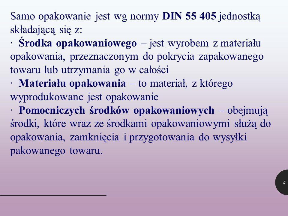 5 Samo opakowanie jest wg normy DIN 55 405 jednostką składającą się z: · Środka opakowaniowego – jest wyrobem z materiału opakowania, przeznaczonym do