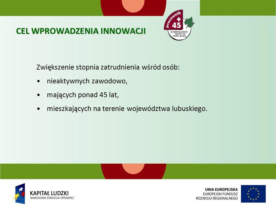 CEL WPROWADZENIA INNOWACJI Zwiększenie stopnia zatrudnienia wśród osób: nieaktywnych zawodowo, mających ponad 45 lat, mieszkających na terenie województwa lubuskiego.