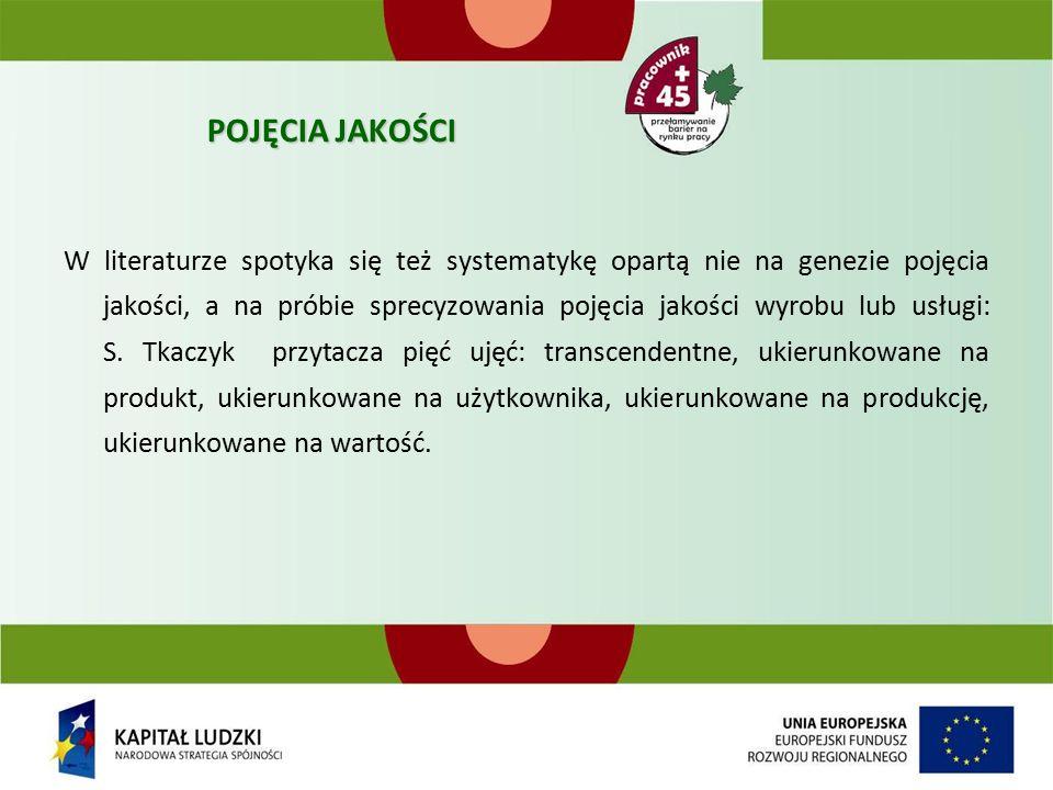 POJĘCIA JAKOŚCI W literaturze spotyka się też systematykę opartą nie na genezie pojęcia jakości, a na próbie sprecyzowania pojęcia jakości wyrobu lub usługi: S.