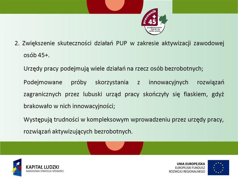 2. Zwiększenie skuteczności działań PUP w zakresie aktywizacji zawodowej osób 45+.