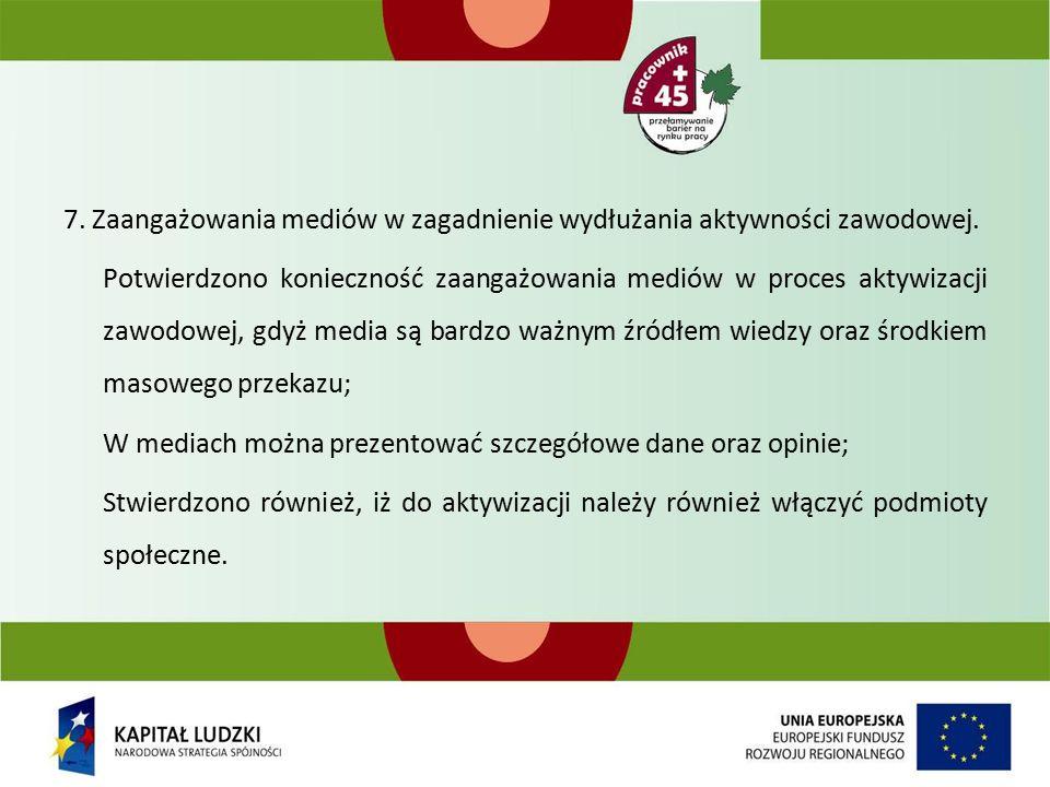7. Zaangażowania mediów w zagadnienie wydłużania aktywności zawodowej.