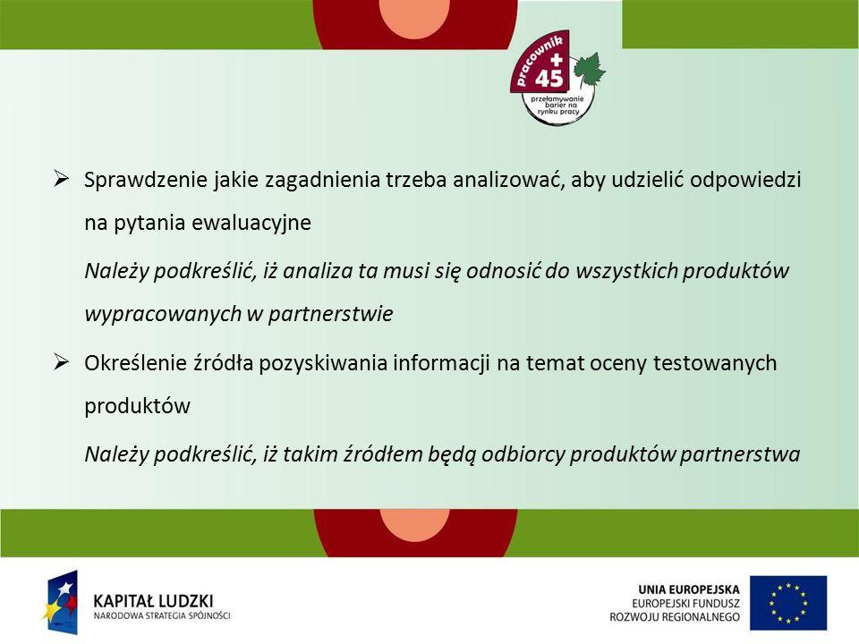  Sprawdzenie jakie zagadnienia trzeba analizować, aby udzielić odpowiedzi na pytania ewaluacyjne Należy podkreślić, iż analiza ta musi się odnosić do wszystkich produktów wypracowanych w partnerstwie  Określenie źródła pozyskiwania informacji na temat oceny testowanych produktów Należy podkreślić, iż takim źródłem będą odbiorcy produktów partnerstwa