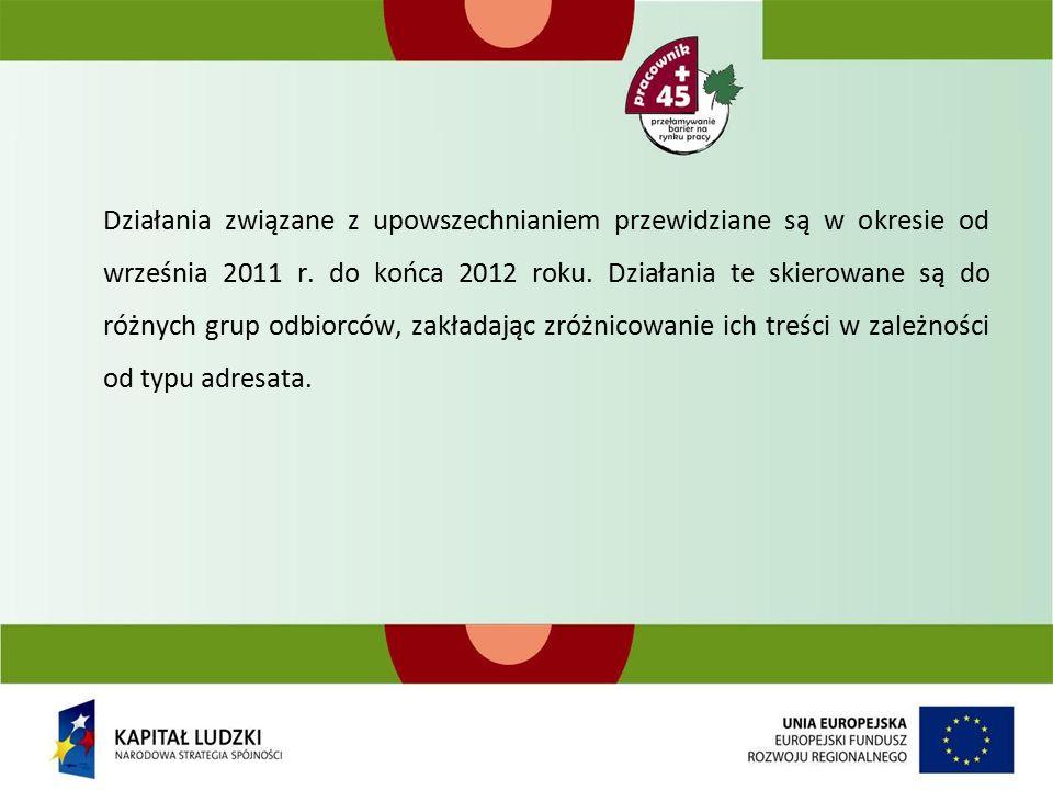 Działania związane z upowszechnianiem przewidziane są w okresie od września 2011 r.