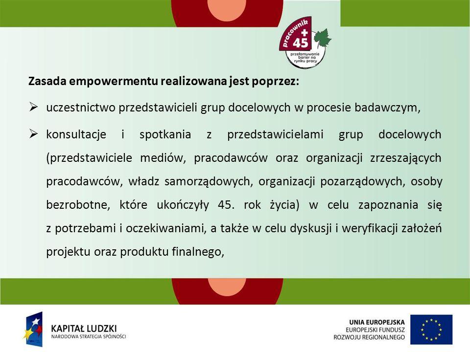 Zasada empowermentu realizowana jest poprzez:  uczestnictwo przedstawicieli grup docelowych w procesie badawczym,  konsultacje i spotkania z przedstawicielami grup docelowych (przedstawiciele mediów, pracodawców oraz organizacji zrzeszających pracodawców, władz samorządowych, organizacji pozarządowych, osoby bezrobotne, które ukończyły 45.