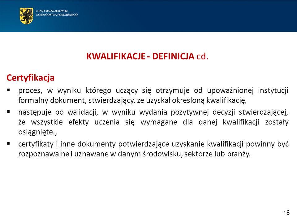 KWALIFIKACJE - DEFINICJA cd.