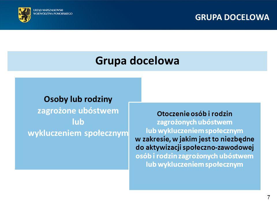 GRUPA DOCELOWA  Wsparcie kierowane jest do osób, wobec których zastosowanie wyłącznie instrumentów i usług rynku pracy jest niewystarczające i istnieje konieczność zastosowania w pierwszej kolejności instrumentów aktywnej integracji o charakterze społecznym.