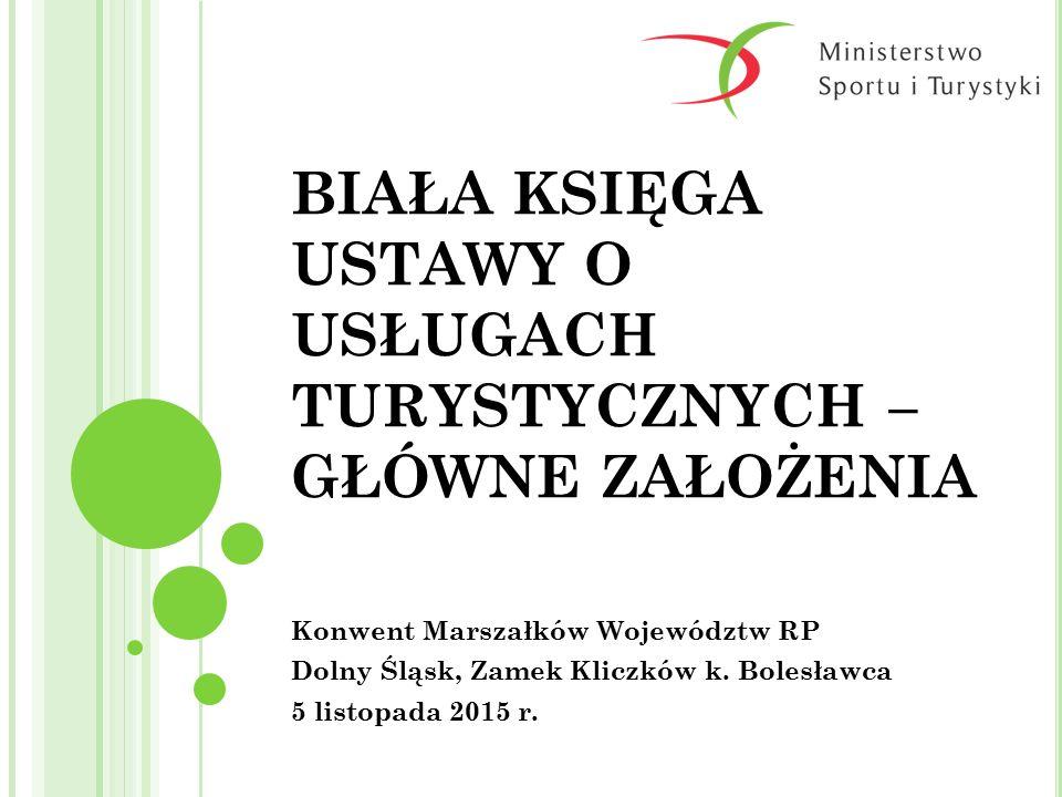 Z APEWNIENIE JAKOŚCI USŁUG PRZEWODNIKÓW TURYSTYCZNYCH I PILOTÓW WYCIECZEK 2015-11-05 22 Ministerstwo Sportu i Turystyki ROZWIĄZANIA LEGISLACYJNE lokalne uprawnienia przewodnika miejskiego ustanawiane przez samorządy terytorialne, fakultatywne państwowe uprawnienia przywrócenie centralnej regulacji zawodu ze zredukowanymi wymogami, przywrócenie regulacji w postaci sprzed wejścia w życie ustawy deregulacyjnej.