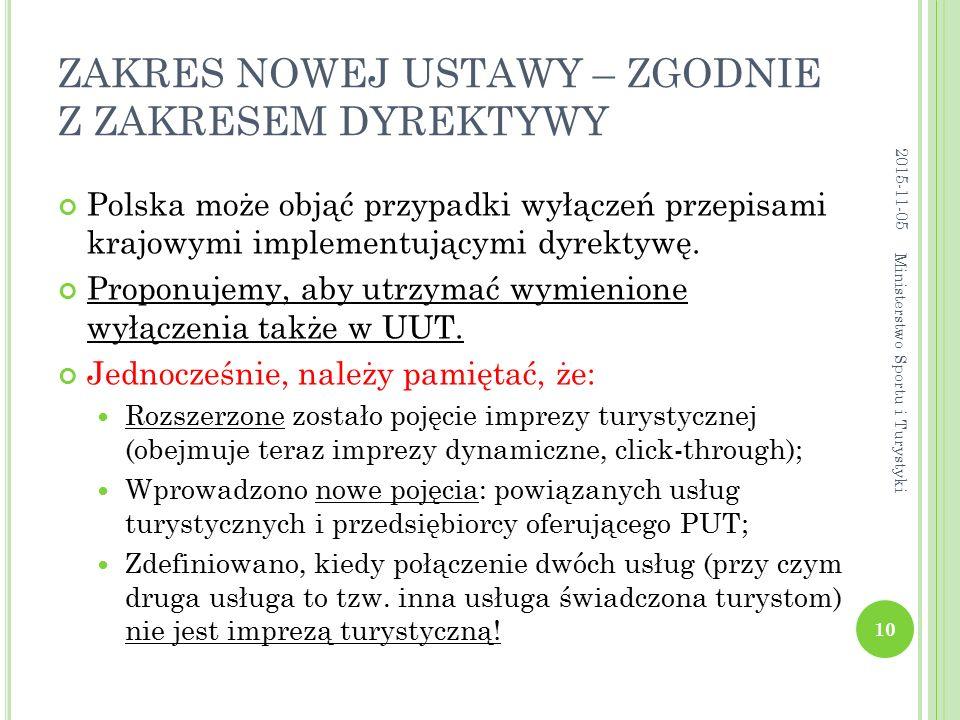 ZAKRES NOWEJ USTAWY – ZGODNIE Z ZAKRESEM DYREKTYWY Polska może objąć przypadki wyłączeń przepisami krajowymi implementującymi dyrektywę. Proponujemy,