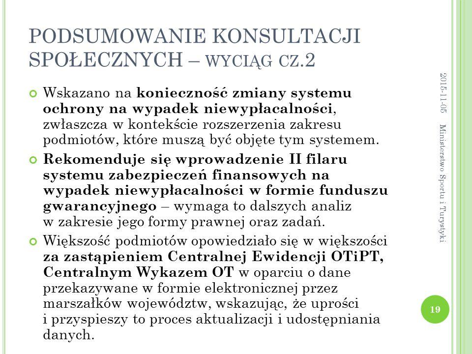 PODSUMOWANIE KONSULTACJI SPOŁECZNYCH – WYCIĄG CZ.2 Wskazano na konieczność zmiany systemu ochrony na wypadek niewypłacalności, zwłaszcza w kontekście rozszerzenia zakresu podmiotów, które muszą być objęte tym systemem.