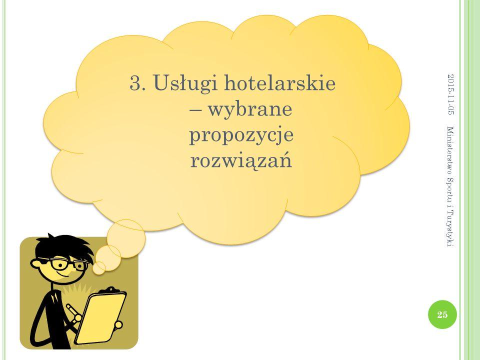3. Usługi hotelarskie – wybrane propozycje rozwiązań 2015-11-05 25 Ministerstwo Sportu i Turystyki