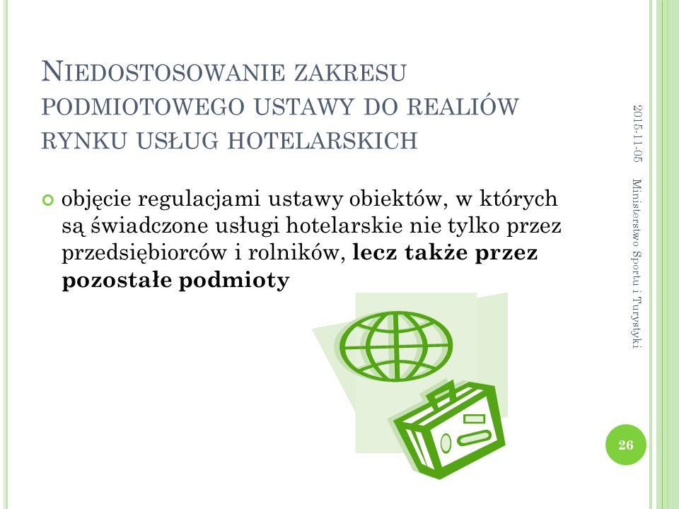 N IEDOSTOSOWANIE ZAKRESU PODMIOTOWEGO USTAWY DO REALIÓW RYNKU USŁUG HOTELARSKICH objęcie regulacjami ustawy obiektów, w których są świadczone usługi hotelarskie nie tylko przez przedsiębiorców i rolników, lecz także przez pozostałe podmioty 2015-11-05 26 Ministerstwo Sportu i Turystyki