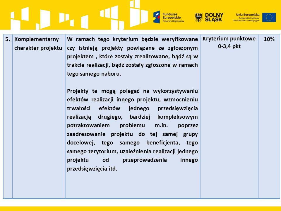 5.Komplementarny charakter projektu W ramach tego kryterium będzie weryfikowane czy istnieją projekty powiązane ze zgłoszonym projektem, które zostały zrealizowane, bądź są w trakcie realizacji, bądź zostały zgłoszone w ramach tego samego naboru.