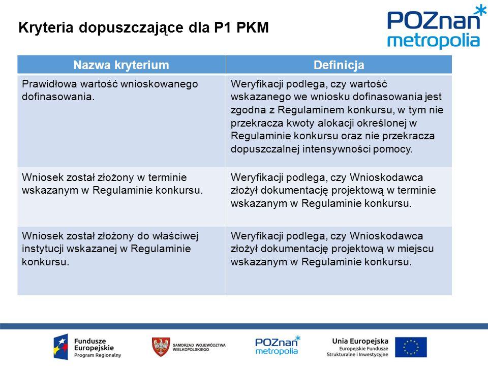 Kryteria dopuszczające dla P1 PKM Nazwa kryteriumDefinicja Prawidłowa wartość wnioskowanego dofinasowania.