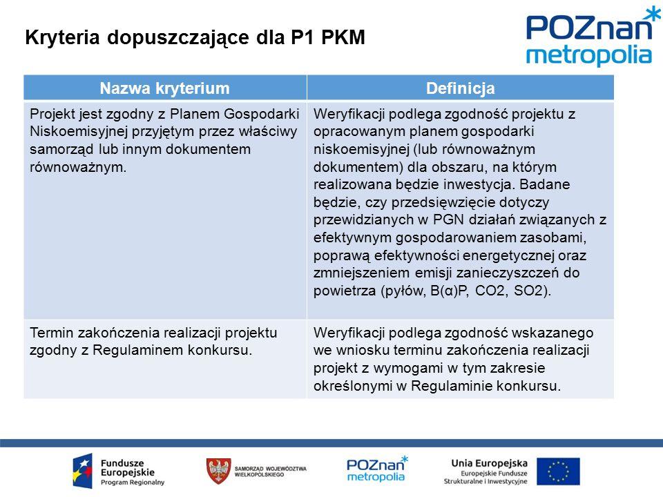 Kryteria dopuszczające dla P1 PKM Nazwa kryteriumDefinicja Projekt jest zgodny z Planem Gospodarki Niskoemisyjnej przyjętym przez właściwy samorząd lub innym dokumentem równoważnym.