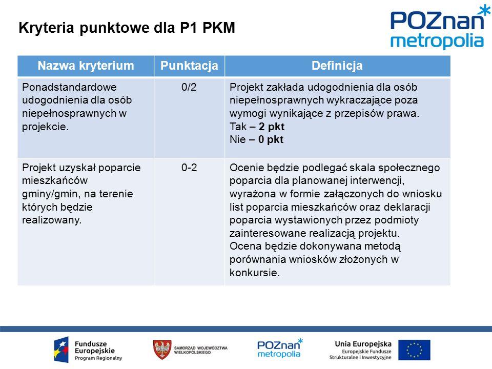 Kryteria punktowe dla P1 PKM Nazwa kryteriumPunktacjaDefinicja Ponadstandardowe udogodnienia dla osób niepełnosprawnych w projekcie.
