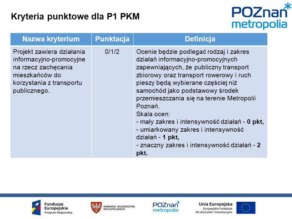 Kryteria punktowe dla P1 PKM Nazwa kryteriumPunktacjaDefinicja Projekt zawiera działania informacyjno-promocyjne na rzecz zachęcania mieszkańców do korzystania z transportu publicznego.
