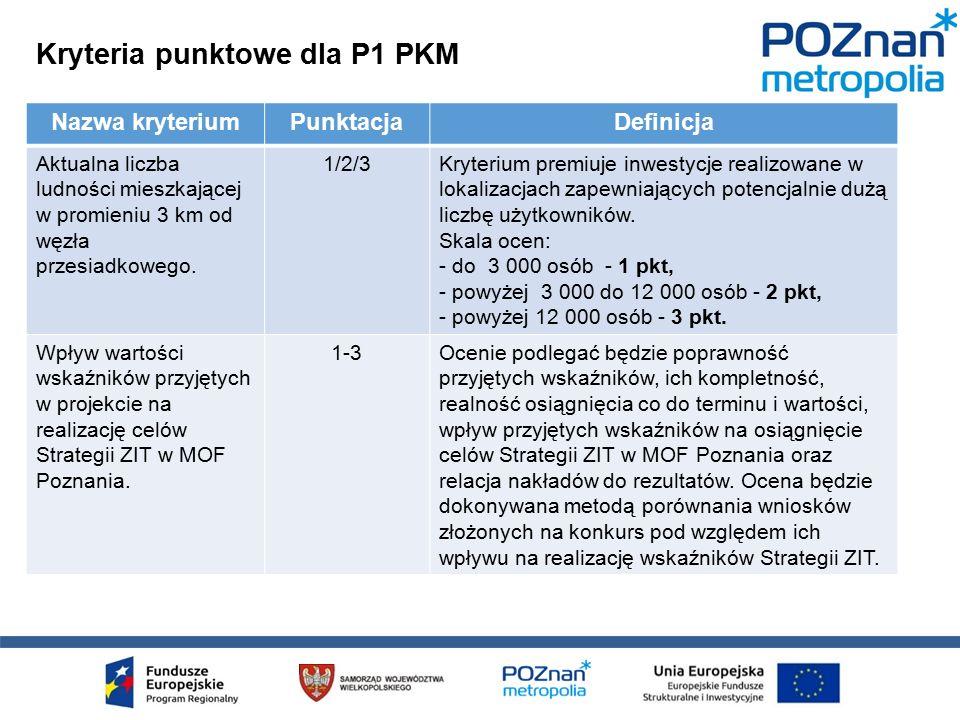 Kryteria punktowe dla P1 PKM Nazwa kryteriumPunktacjaDefinicja Aktualna liczba ludności mieszkającej w promieniu 3 km od węzła przesiadkowego.