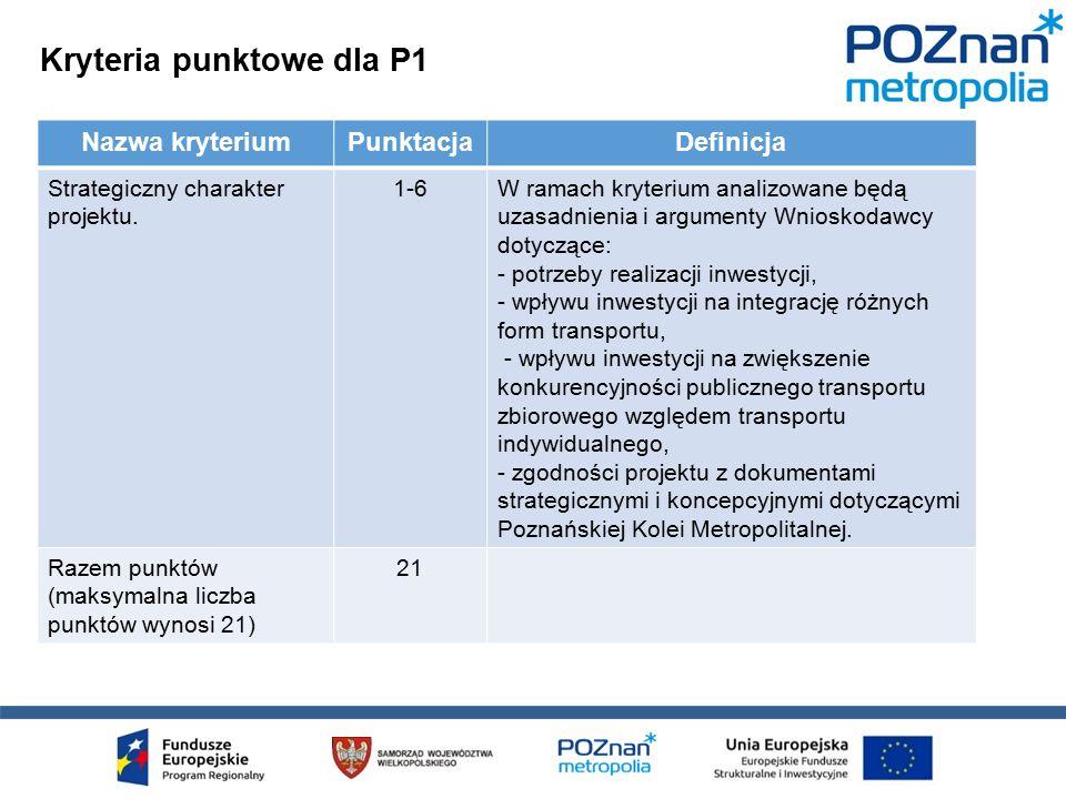 Kryteria punktowe dla P1 Nazwa kryteriumPunktacjaDefinicja Strategiczny charakter projektu.
