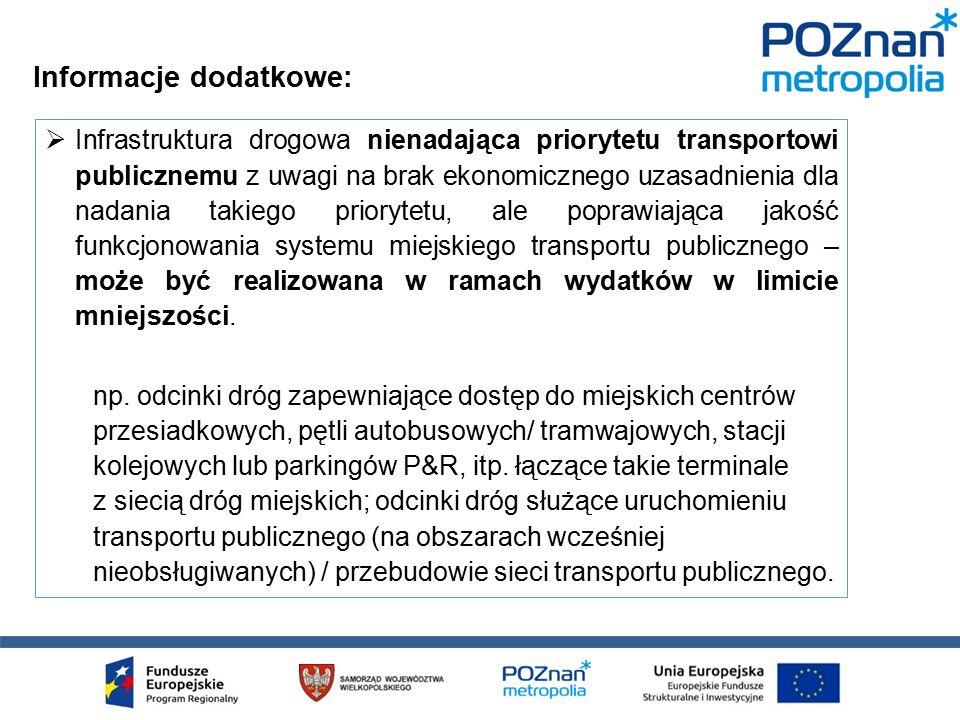  Infrastruktura drogowa nienadająca priorytetu transportowi publicznemu z uwagi na brak ekonomicznego uzasadnienia dla nadania takiego priorytetu, ale poprawiająca jakość funkcjonowania systemu miejskiego transportu publicznego – może być realizowana w ramach wydatków w limicie mniejszości.