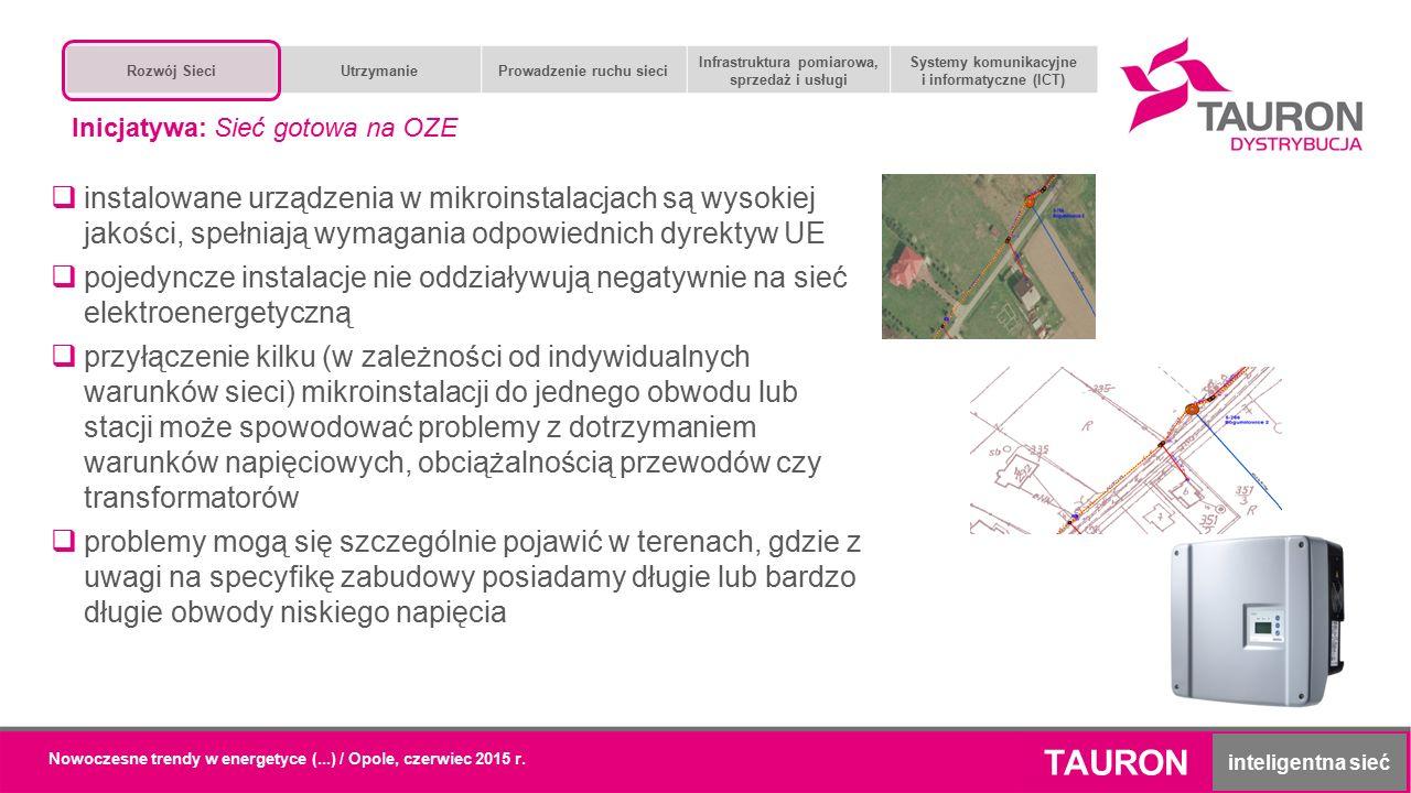 Nowoczesne trendy w energetyce (...) / Opole, czerwiec 2015 r. TAURON inteligentna sieć  instalowane urządzenia w mikroinstalacjach są wysokiej jakoś