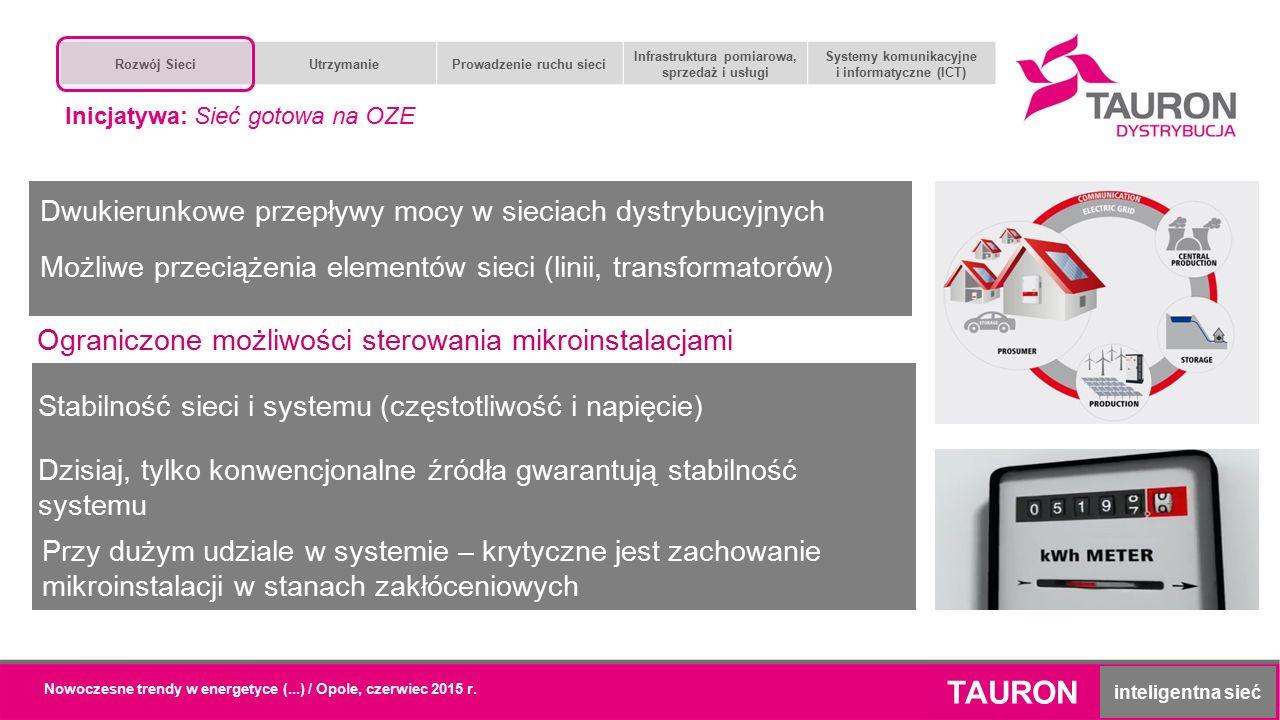 Nowoczesne trendy w energetyce (...) / Opole, czerwiec 2015 r. TAURON inteligentna sieć Dwukierunkowe przepływy mocy w sieciach dystrybucyjnych Stabil