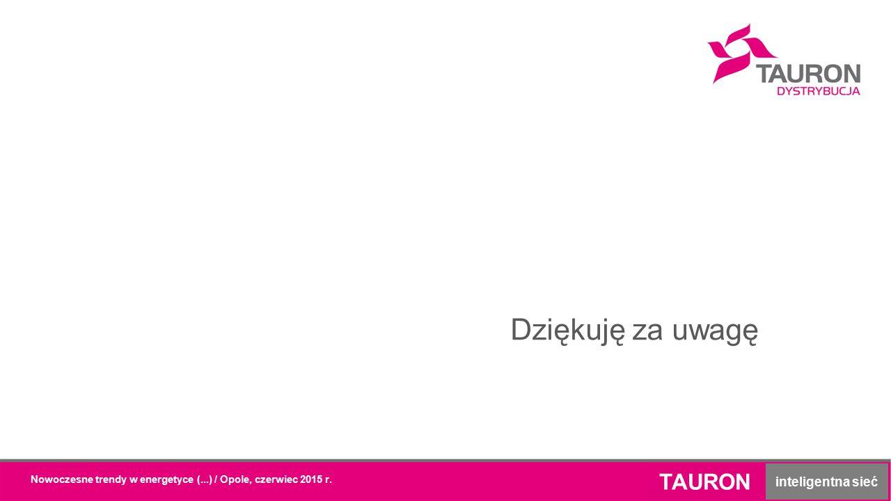 TAURON inteligentna sieć Dziękuję za uwagę Nowoczesne trendy w energetyce (...) / Opole, czerwiec 2015 r.