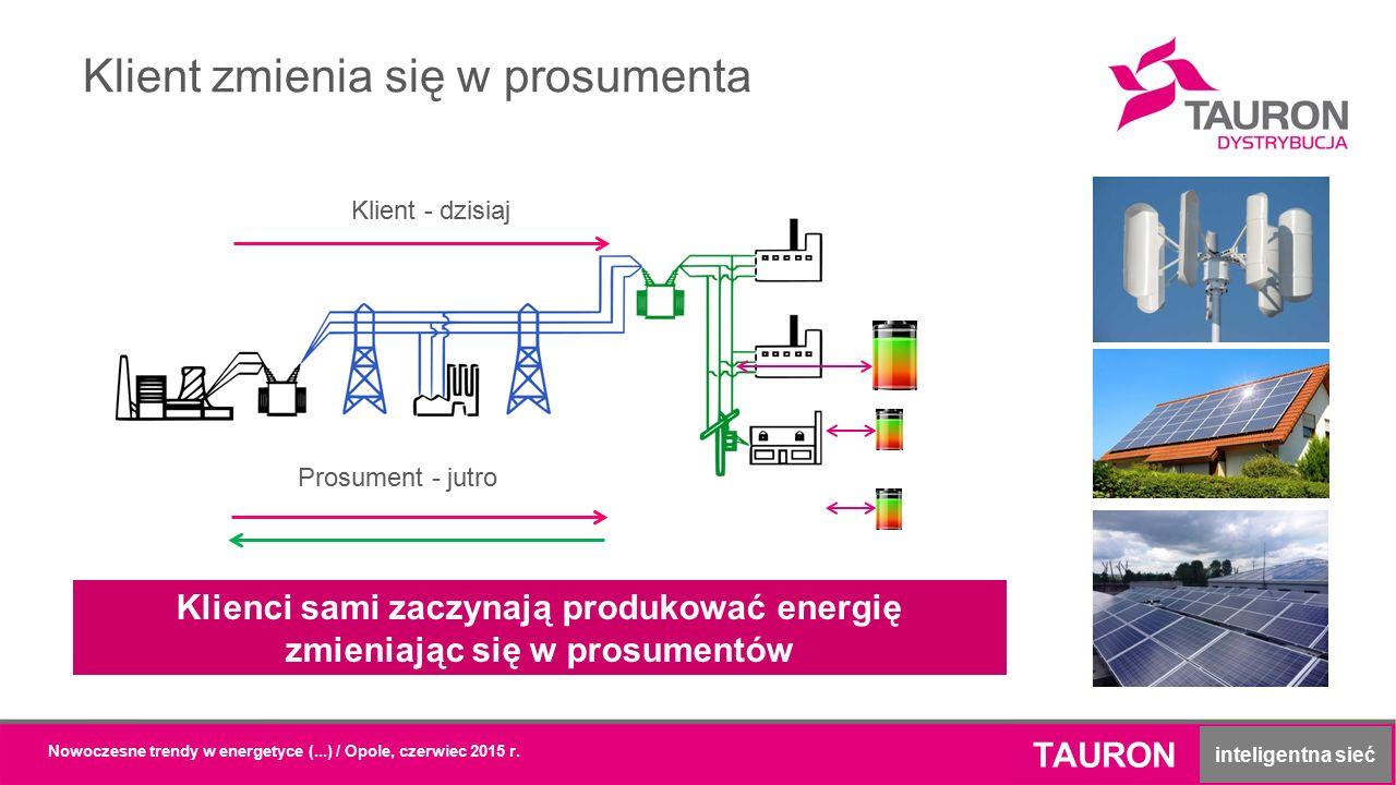 Klient zmienia się w prosumenta TAURON inteligentna sieć Klient - dzisiaj Prosument - jutro Klienci sami zaczynają produkować energię zmieniając się w prosumentów
