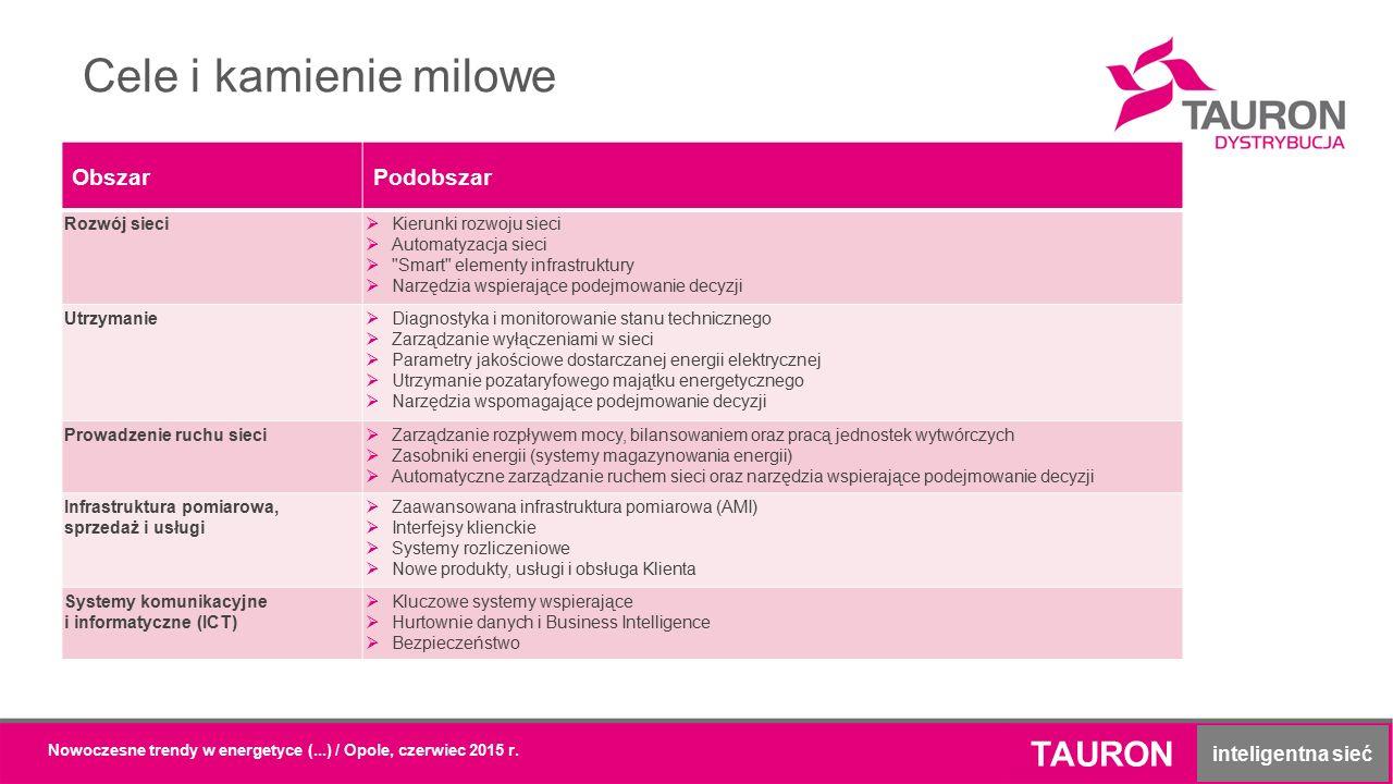 Cele i kamienie milowe TAURON inteligentna sieć Nowoczesne trendy w energetyce (...) / Opole, czerwiec 2015 r. ObszarPodobszar Rozwój sieci  Kierunki
