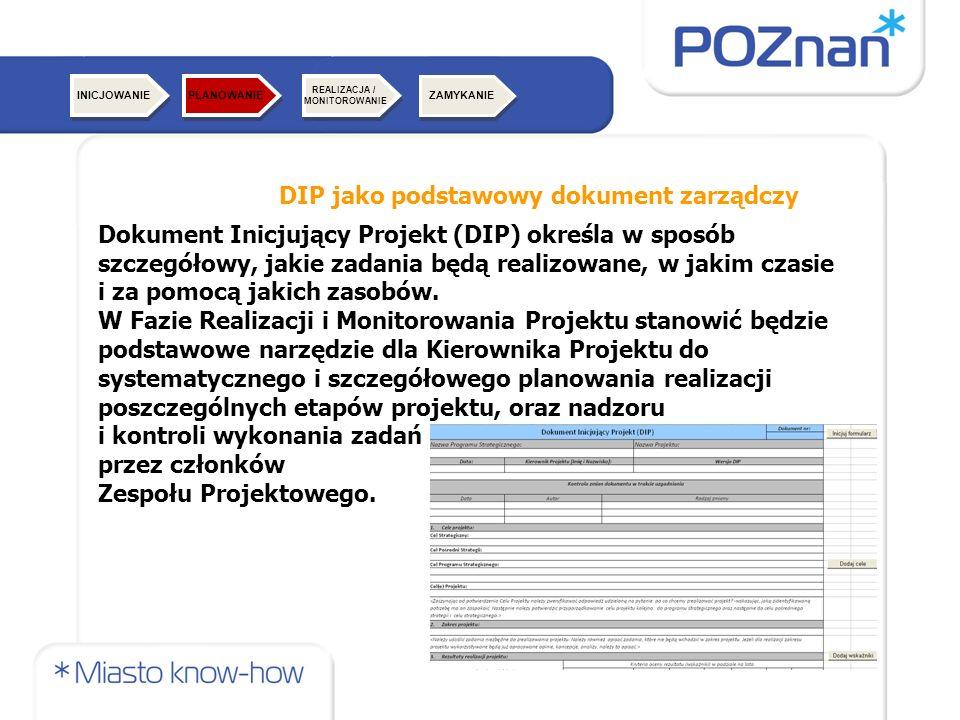 DIP jako podstawowy dokument zarządczy Dokument Inicjujący Projekt (DIP) określa w sposób szczegółowy, jakie zadania będą realizowane, w jakim czasie i za pomocą jakich zasobów.