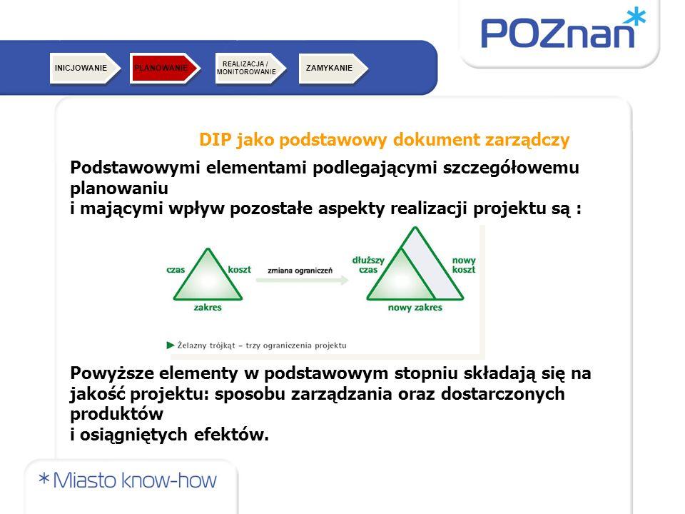 DIP jako podstawowy dokument zarządczy Podstawowymi elementami podlegającymi szczegółowemu planowaniu i mającymi wpływ pozostałe aspekty realizacji projektu są : Powyższe elementy w podstawowym stopniu składają się na jakość projektu: sposobu zarządzania oraz dostarczonych produktów i osiągniętych efektów.