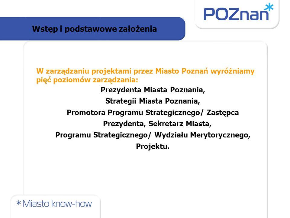W zarządzaniu projektami przez Miasto Poznań wyróżniamy pięć poziomów zarządzania: Prezydenta Miasta Poznania, Strategii Miasta Poznania, Promotora Programu Strategicznego/ Zastępca Prezydenta, Sekretarz Miasta, Programu Strategicznego/ Wydziału Merytorycznego, Projektu.
