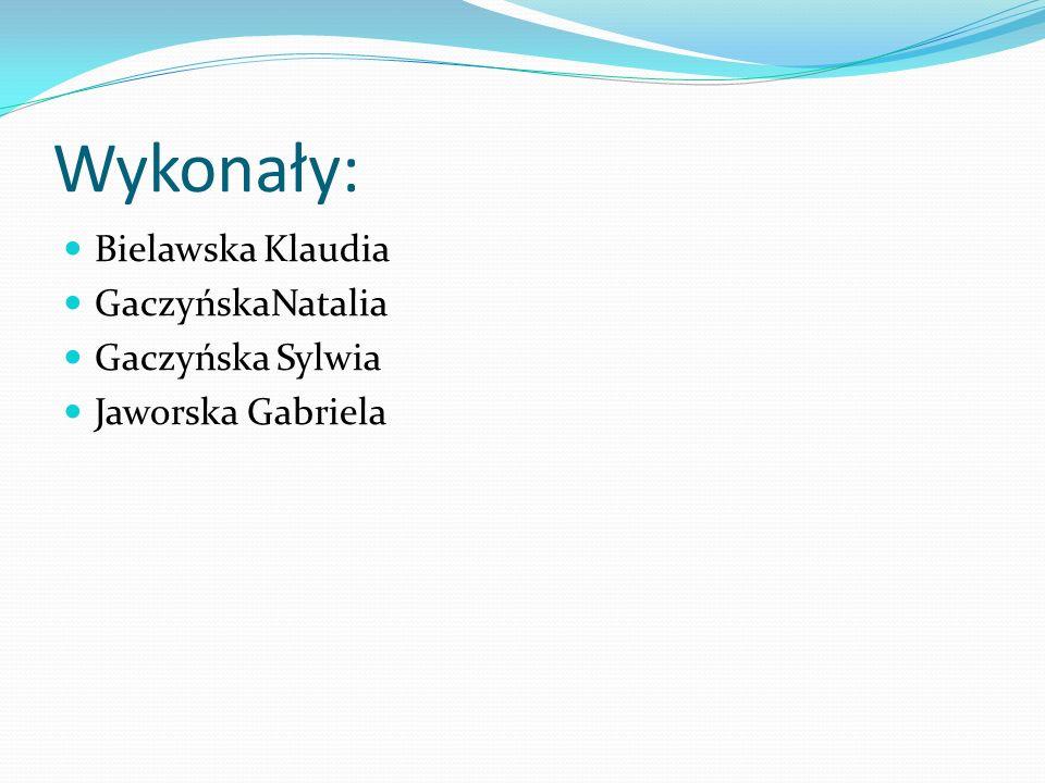Wykonały: Bielawska Klaudia GaczyńskaNatalia Gaczyńska Sylwia Jaworska Gabriela