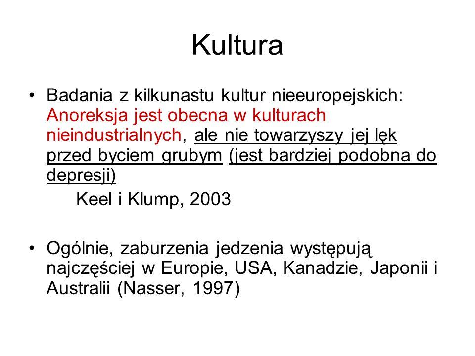 Kultura Badania z kilkunastu kultur nieeuropejskich: Anoreksja jest obecna w kulturach nieindustrialnych, ale nie towarzyszy jej lęk przed byciem grubym (jest bardziej podobna do depresji) Keel i Klump, 2003 Ogólnie, zaburzenia jedzenia występują najczęściej w Europie, USA, Kanadzie, Japonii i Australii (Nasser, 1997)