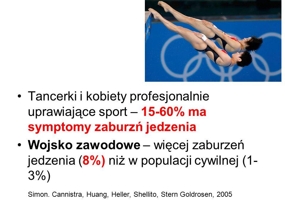 Tancerki i kobiety profesjonalnie uprawiające sport – 15-60% ma symptomy zaburzń jedzenia Wojsko zawodowe – więcej zaburzeń jedzenia (8%) niż w populacji cywilnej (1- 3%) Simon.