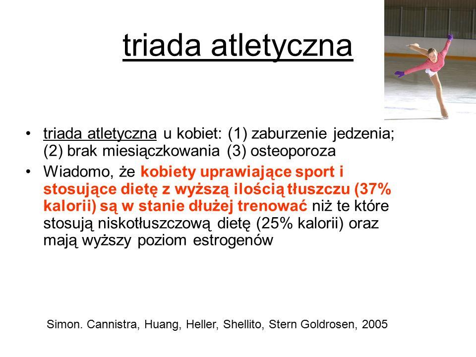 triada atletyczna triada atletyczna u kobiet: (1) zaburzenie jedzenia; (2) brak miesiączkowania (3) osteoporoza Wiadomo, że kobiety uprawiające sport i stosujące dietę z wyższą ilością tłuszczu (37% kalorii) są w stanie dłużej trenować niż te które stosują niskotłuszczową dietę (25% kalorii) oraz mają wyższy poziom estrogenów Simon.