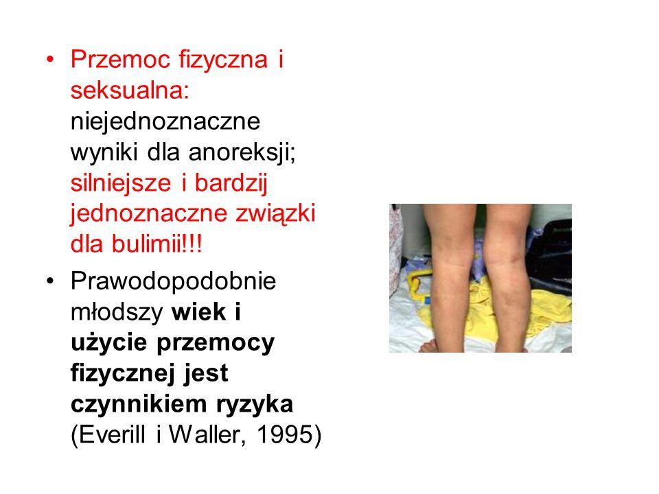 Przemoc fizyczna i seksualna: niejednoznaczne wyniki dla anoreksji; silniejsze i bardzij jednoznaczne związki dla bulimii!!.