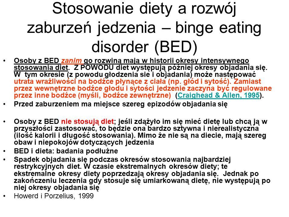 Stosowanie diety a rozwój zaburzeń jedzenia – binge eating disorder (BED) Osoby z BED zanim go rozwiną mają w historii okresy intensywnego stosowania diet.