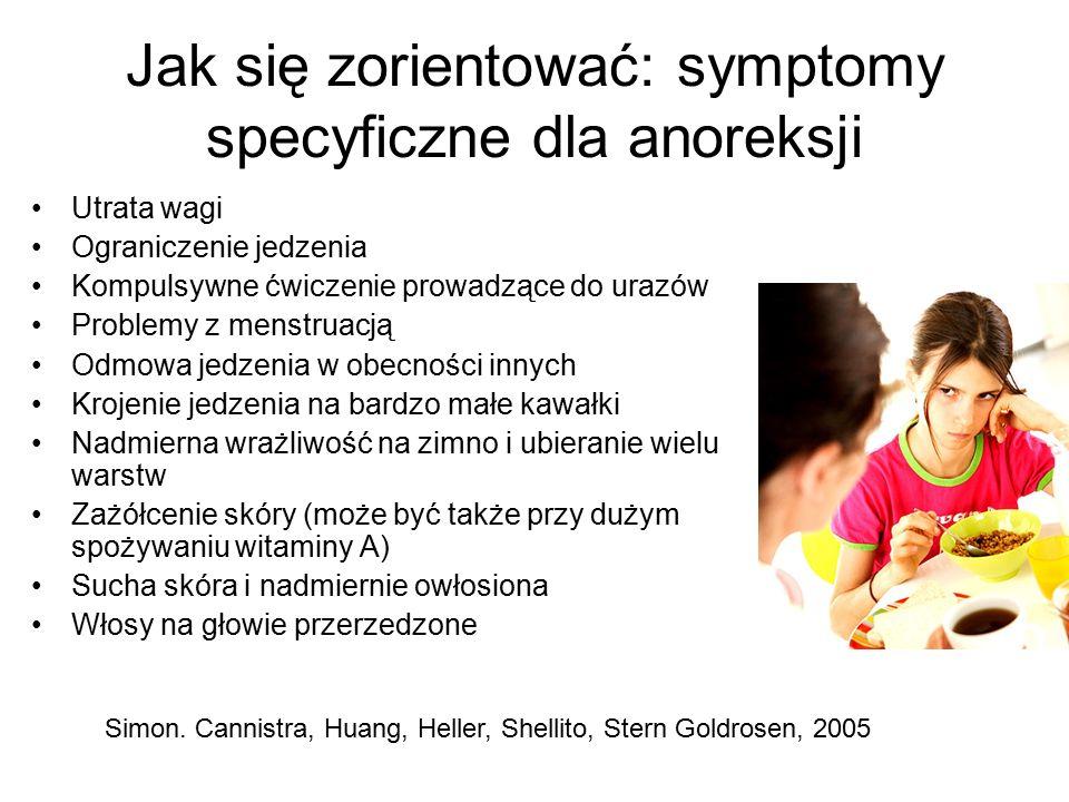 Jak się zorientować: symptomy specyficzne dla anoreksji Utrata wagi Ograniczenie jedzenia Kompulsywne ćwiczenie prowadzące do urazów Problemy z menstruacją Odmowa jedzenia w obecności innych Krojenie jedzenia na bardzo małe kawałki Nadmierna wrażliwość na zimno i ubieranie wielu warstw Zażółcenie skóry (może być także przy dużym spożywaniu witaminy A) Sucha skóra i nadmiernie owłosiona Włosy na głowie przerzedzone Simon.