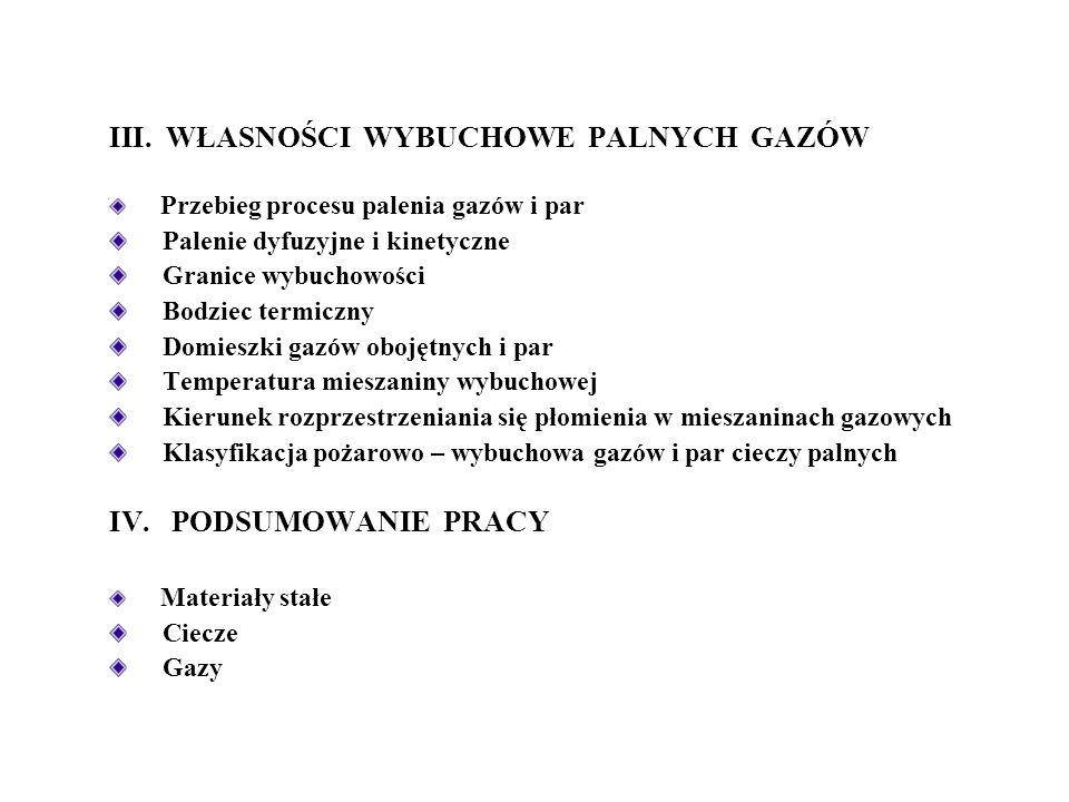 1.obszar A - DGW: przedstawiający mieszaniny ubogie w składnik palny, zawierające znaczny nadmiar tlenu, niepalne, 2.obszar DGW - GGW: obejmujący mieszaniny palne i wybuchowe, w których płomień przemieszcza się z różnymi prędkościami, 3.