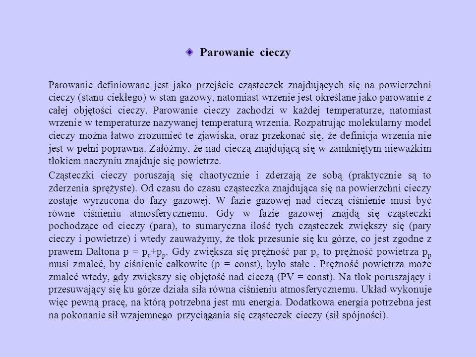 Część energii wewnętrznej układu zostaje zamieniona na pracę objętościową (przesunięcie tłoka) i pokonanie sił spójności.
