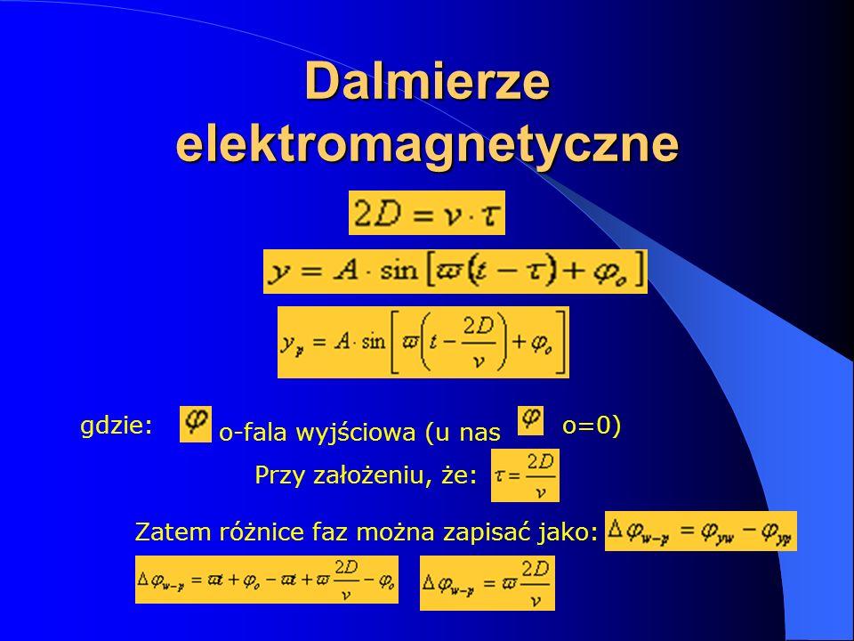 Dalmierze elektromagnetyczne gdzie: o-fala wyjściowa (u nas o=0) Przy założeniu, że: Zatem różnice faz można zapisać jako: