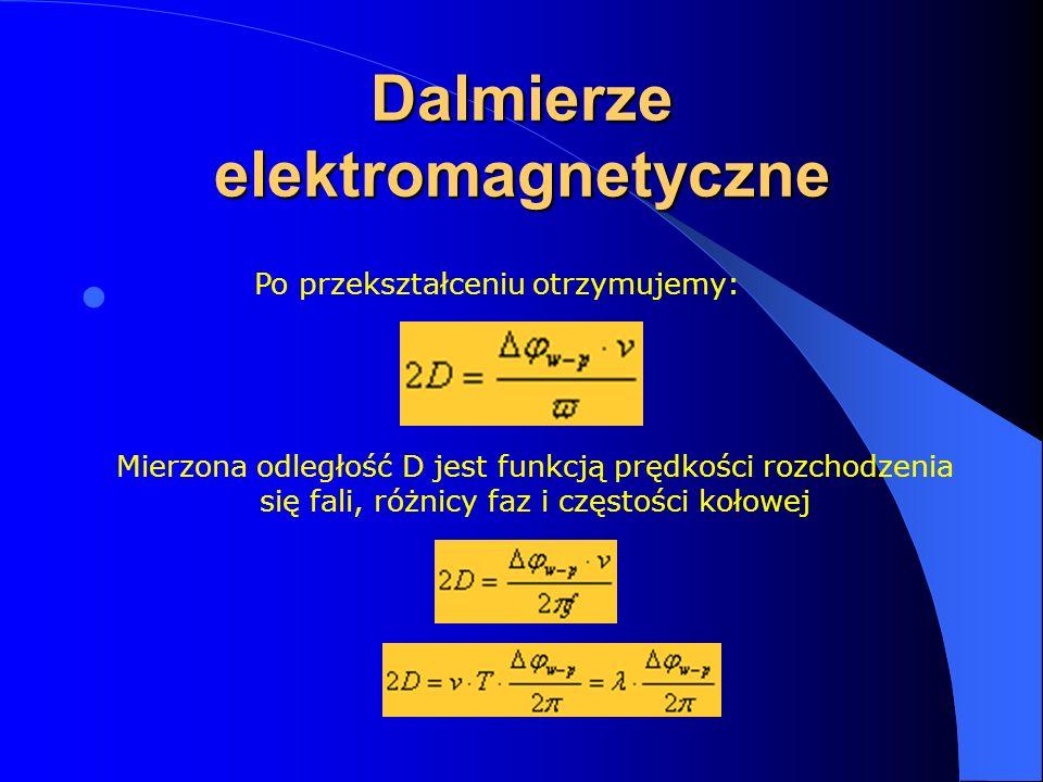 Dalmierze elektromagnetyczne Po przekształceniu otrzymujemy: Mierzona odległość D jest funkcją prędkości rozchodzenia się fali, różnicy faz i częstości kołowej