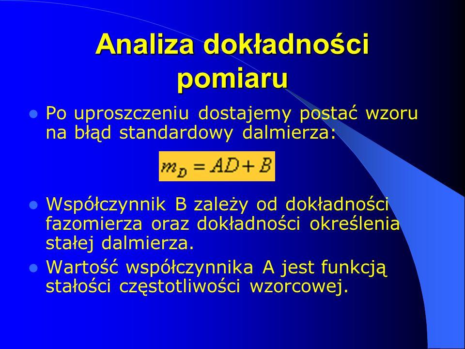 Analiza dokładności pomiaru Po uproszczeniu dostajemy postać wzoru na błąd standardowy dalmierza: Współczynnik B zależy od dokładności fazomierza oraz dokładności określenia stałej dalmierza.